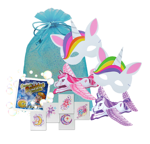 Unicorn Party Bag, unicorn mask, unicorn glider, magic packet, catch-a-bubbles & party tattoo