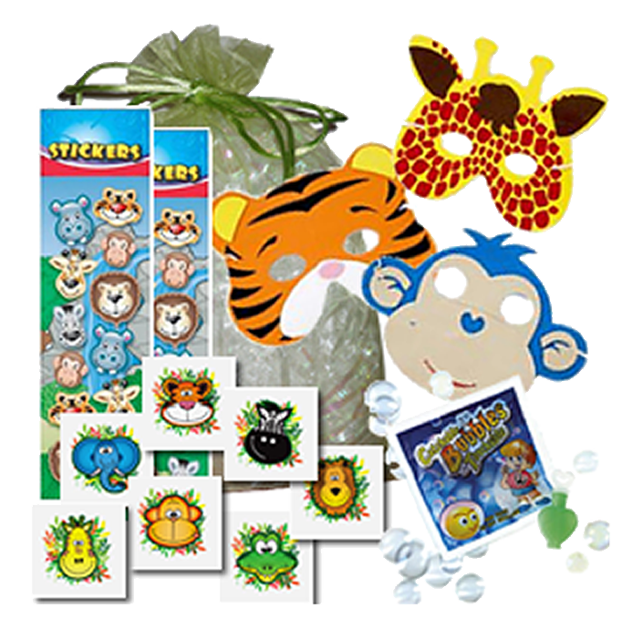 Jungle Party Bag, foam face mask, sheet of stickers, a packet of catch-a-bubbles & temporary tattoo