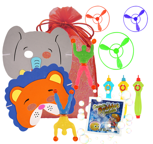 Circus Party Bag, animal face mask, wonder wall walker, catch-a-bubbles packet & flying saucer
