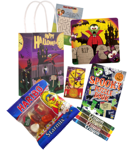 Halloween Party bags, colouring book, wax crayons, puzzles, notebook, haribo & activity sheet.