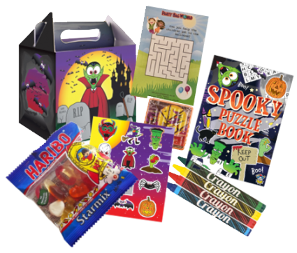 Halloween Lunch Box, colouring book, crayons, sticker sheet, maze game, haribo & activity sheet.
