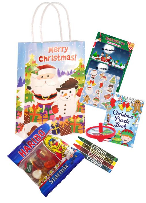 pre-filled christmas party bag with stickers, jigsaws & toys inside