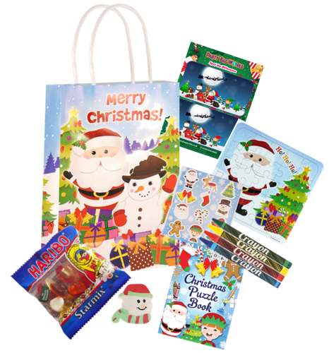 Christmas Pre-Filled Party Bags with haribos, jigsaw set, crayons & colouring set.