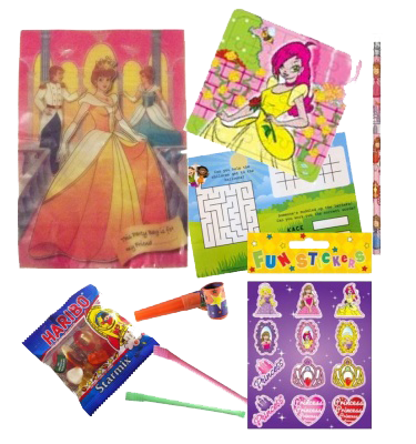 Princess Themed Party Bag gift set with themed princess stickers, jigsaw, pencil & word search puzzle