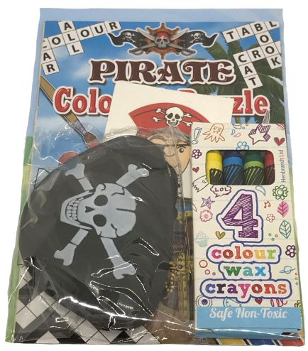 Pirate Themed Activity Pack with colouring book, pirate hat & colouring crayons