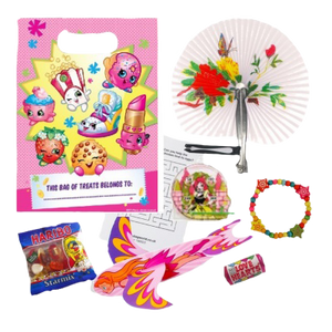 Girls Doc McStuffins Gift Party Bag with chinese style fan, bracelet, glider, haribo sweets, love hears & word search puzzle