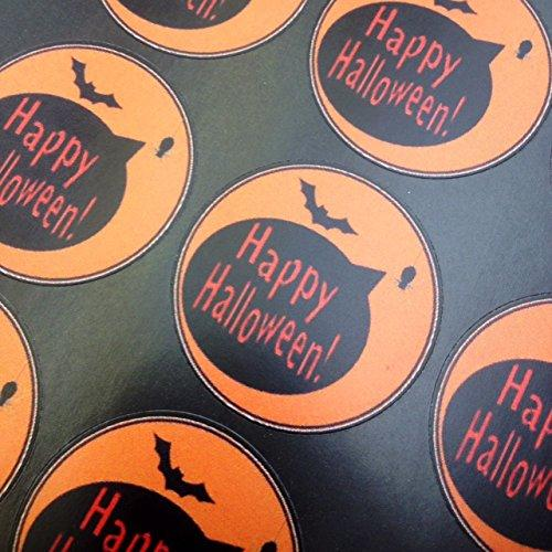 Halloween stickers, including bats, spiders, decorating sweet cones and candy bags.