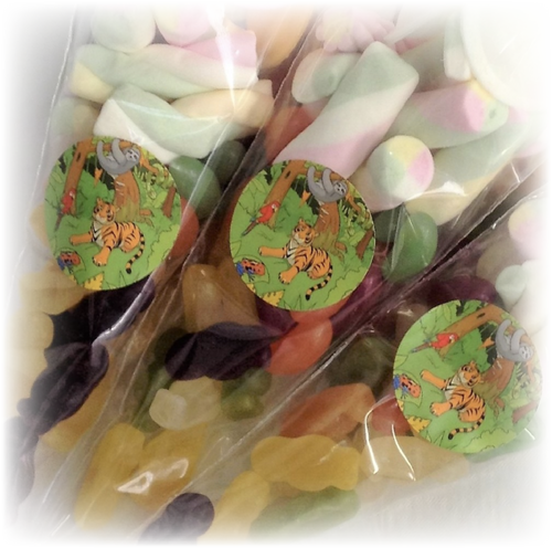 Jungle Themed party sweet bags with sticker of tigers on packaging