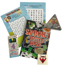 Load image into Gallery viewer, Amazing puzzle book, including crosswords, word search, crayons, stickers & pinball mini-game