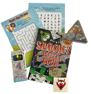 Amazing puzzle book, including crosswords, word search, crayons, stickers & pinball mini-game
