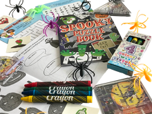 Load image into Gallery viewer, Halloween set, crosswords, word search, crayons, colouring books, spider rings & pinball games