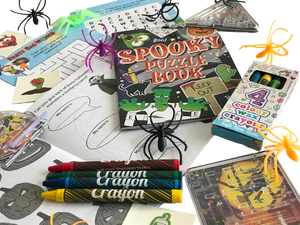 Halloween set, crosswords, word search, crayons, colouring books, spider rings & pinball games