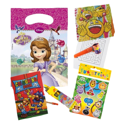 Sofia themed party gift bag set with glider, haribo sweets, chinese fan, bracelet, and puzzles