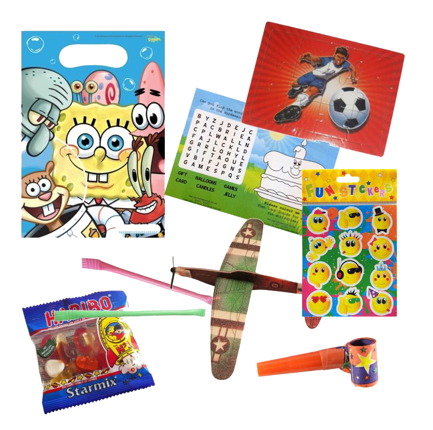 SpongeBob Squarepants gift party bag with football jigsaw, word search, plane glider, emoji stickers & haribo sweets