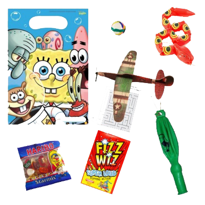 SpongeBob Squarepants gift party bag with Snake Toy, word search, plane glider, Fizz Wiz & haribo sweets