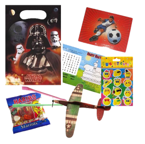 A Star Wars party bag with football jigsaw, haribo sweets bag, Emoji Stickers & word search puzzle