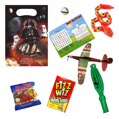 Star Wars Party Themed Gift Bag With bouncy ball, word search puzzle, snake toy, plane glider & sweets