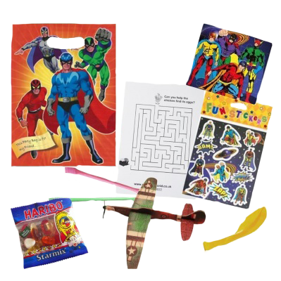 Superhero themed party bag with prizes and gifts