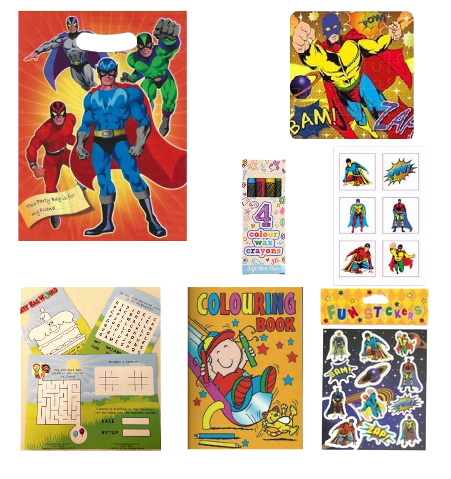 Superhero Themed Party bag with superhero jigsaw, crayons, colouring book, stickers & puzzles