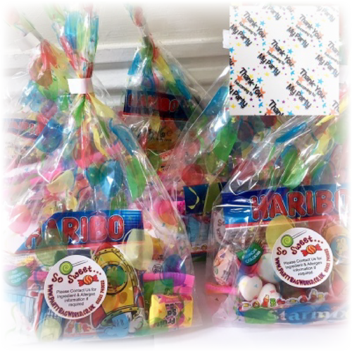 Pre packed party bag sweets with mini haribo sweets & fruit salad sweets