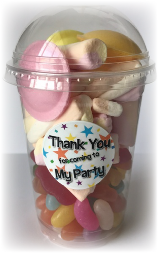 Sweet Pot with a sticker that says 'Thank You For Coming To My Party'