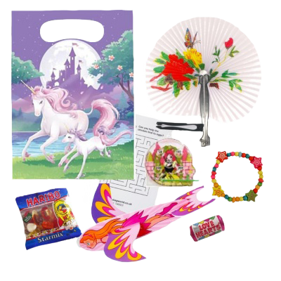 Unicorn Party Gift Bags with glider, haribo sweets, love hearts, bracelet and word search puzzle