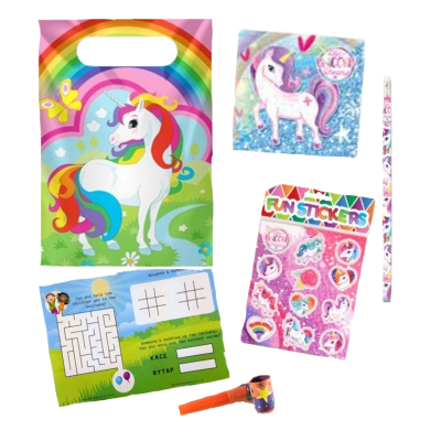 Unicorn Themed Party Bag Set With Unicorn Puzzle, Stickers & pencil