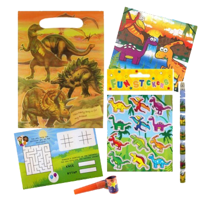 Dinosaur jurassic themed party gift set with word search puzzle, pencil, dinosaur themed stickers and jigsaw