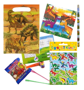 Dinosaur jurassic themed party gift set with word search puzzle, pencil, dinosaur themed stickers and jigsaw, haribo sweets