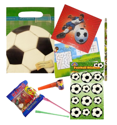 Football gift bag with soccer jigsaw puzzle, word search, haribo sweets, football stickers & pencil