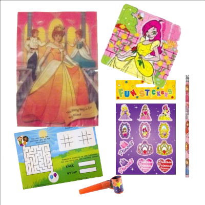 Party Gift Bag with Princess themed stickers & jigsaw, word search & pencil