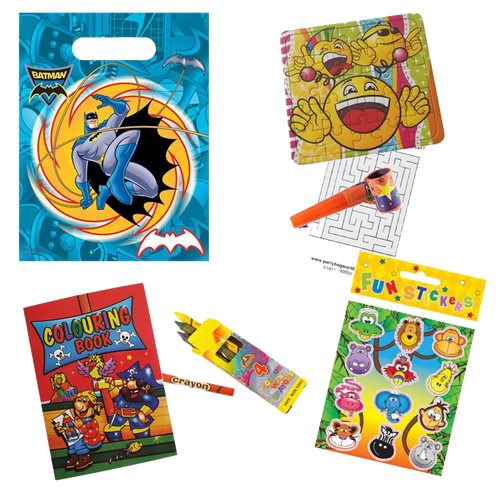 Batman Superhero Party Bag, Emoji Jigsaw, Crayons, Colouring book & sticker set gifts