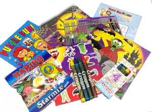Halloween Party Cello Bags, activity sheet, sticker sheet, puzzle, crayons & colouring book.