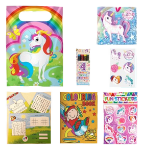 Unicorn Party Bag with unicorn themed jigsaw, stickers & puzzles, colouring book & crayon