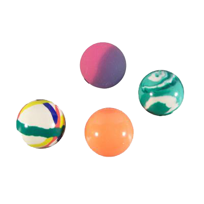 white, orange, green and purple bouncy balls for pre filling party bags