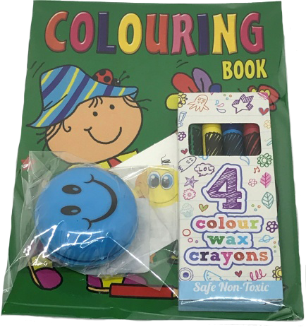 Green Colouring book, with smily face toy and colour crayons