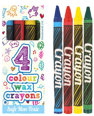 Pack of 4 Crayons red, blue, yellow & green