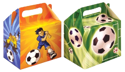 Orange & Green Football Themed Lunch boxes with soccer player & footballs