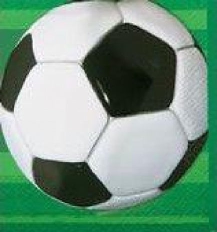 Themed football napkins for parties with soccer ball design and green football field