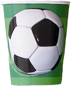 Football Party Cups with soccer ball and green football field design
