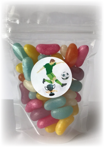 Jelly bean sweet pouch with football sticker of soccer player kicking ball