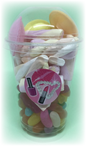 Sweet tub with flying saucers & jelly bean sweets