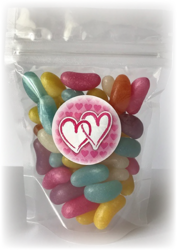 Hearts sweet pouch with blue, red, yellow & purple jelly beans