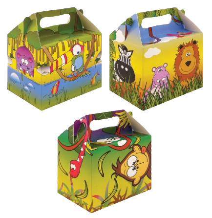 3 Jungle Themed Lunch Boxes with tiger, monkey & jungle animals