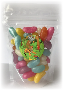 Bag of jelly bean sweets in a sealed pouch with a sticker of a tiger in the jungle