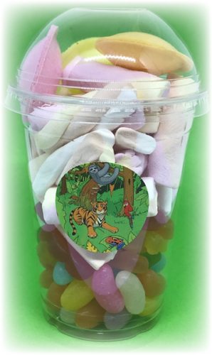 Jungle Themed Sweet Tubs with flying sauces, jelly beans & other sweets