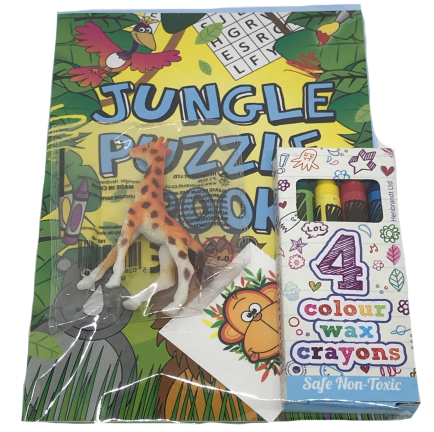 Jungle Puzzle Book, Giraffe Toy, Monkey Sticker & Crayons