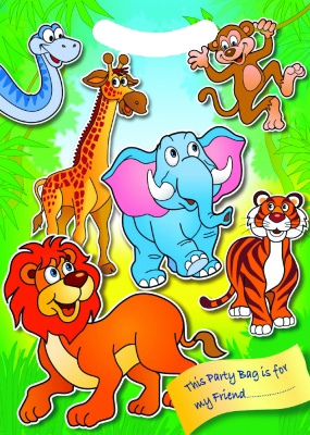 Jungle Themed Party Bag With lion, tiger, elephant. giraffe, snake & monkey