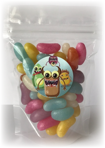 Jelly bean sweets in a sealed pouch with a monsters sticker on