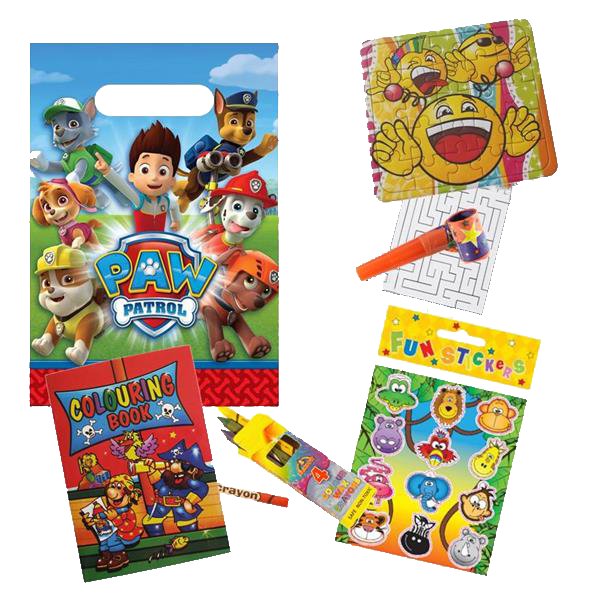 Paw Patrol Themed Gift party bag with prizes like an emoji jigsaw, word search puzzle, colouring book, crayons & stickers